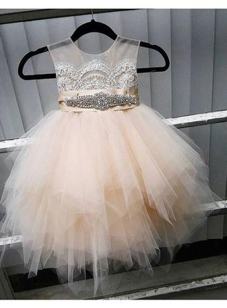 A-Line/Princess Scoop Neck Knee-length With Lace/Sash/Beading Tulle Flower Girl Dress (010146776)