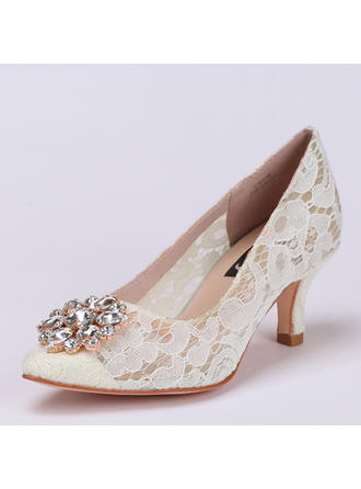 Kvinnor Spets Stilettklack Stängt Toe Beach Wedding Shoes med Strass