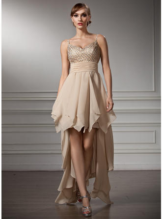 A-Line/Princess V-neck Asymmetrical Chiffon Homecoming Dresses With Beading Cascading Ruffles