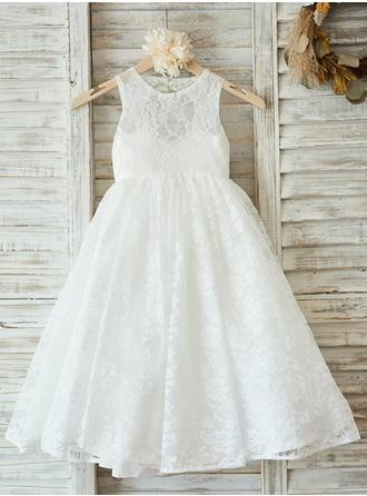 A-Line/Princess Scoop Neck Floor-length With Pleated Lace Flower Girl Dress