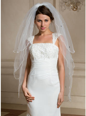Three-tier Scalloped Edge Fingertip Bridal Veils With Beading/Sequin