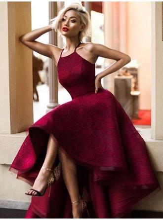 Flattering Lace Evening Dresses A-Line/Princess Asymmetrical Square Neckline Sleeveless (017217852)