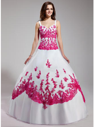 Ball-Gown V-neck Floor-Length Organza Prom Dress With Beading Sequins