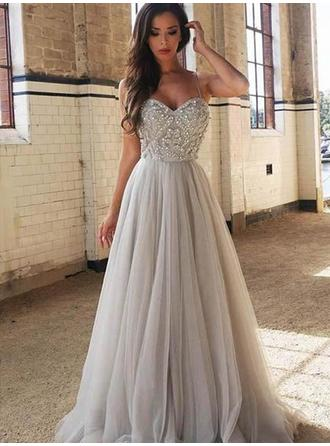 A-Line/Princess Tulle Prom Dresses Fashion Sweep Train Sweetheart Sleeveless (018218463)