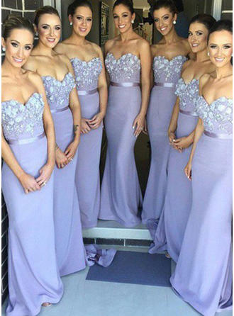 Trumpet/Mermaid Lace Jersey Bridesmaid Dresses Flower(s) Sweetheart Sleeveless Sweep Train