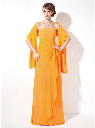 Sheath/Column Floor-Length Chiffon Floor-Length Bridesmaid Dresses