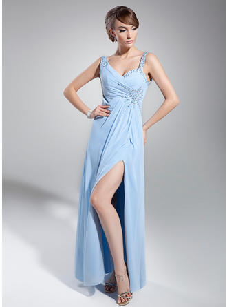 Empire Sweetheart Floor-Length Evening Dress With Ruffle Beading Sequins Split Front