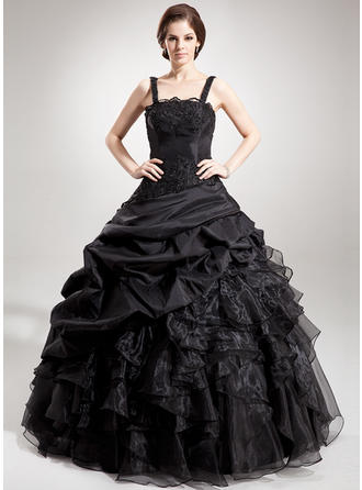 Ball-Gown Square Neckline Floor-Length Taffeta Organza Prom Dress With Beading Appliques Lace Sequins Cascading Ruffles