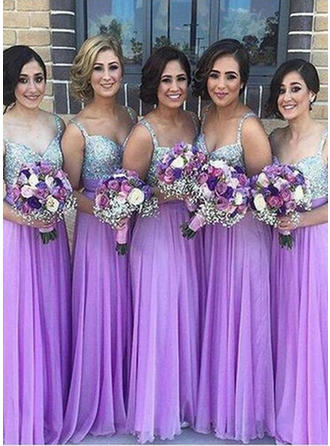 A-Line/Princess Sweetheart Floor-Length Chiffon Sequined Bridesmaid Dress