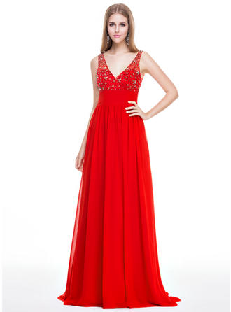 Empire Chiffon Prom Dresses Beading Sequins V-neck Sleeveless Sweep Train