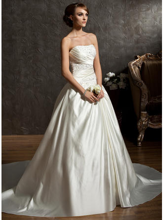 Sleeveless Ball-Gown Ruffle Beading With Satin Wedding Dresses