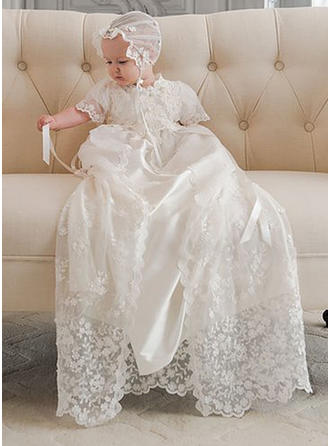 Scoop Neck A-Line/Princess Flower Girl Dresses Tulle/Lace Lace Short Sleeves Watteau Train