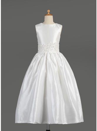 A-Line/Princess Scoop Neck Ankle-length With Lace/Beading Taffeta Flower Girl Dress