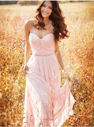 A-Line/Principessa Innamorato A terra Chiffona Abito da damigella con Perline