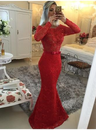Lace Long Sleeves Trumpet/Mermaid Prom Dresses Scoop Neck Beading Sweep Train