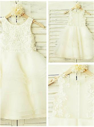 Scoop Neck A-Line/Princess Flower Girl Dresses Organza/Tulle Appliques Sleeveless Tea-length