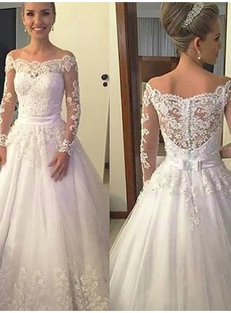 Simple Court Train Ball-Gown Wedding Dresses Off-The-Shoulder Tulle Long Sleeves