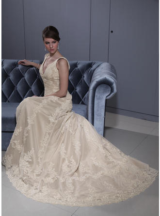 Newest Court Train A-Line/Princess Wedding Dresses Sweetheart Tulle Sleeveless