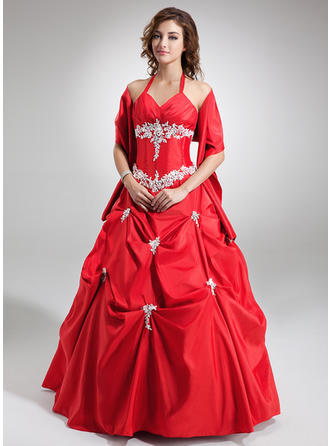 Ball-Gown V-neck Floor-Length Taffeta Prom Dress With Ruffle Beading Appliques Lace Sequins