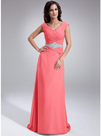 A-Line/Princess Off-the-Shoulder Chiffon Sleeveless Sweep Train Ruffle Beading Sequins Mother of the Bride Dresses