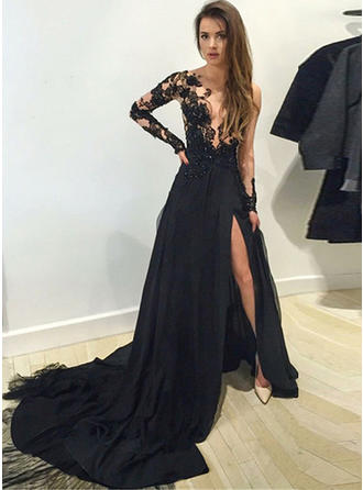 Chiffon Long Sleeves A-Line/Princess Prom Dresses Scoop Neck Beading Appliques Lace Split Front Court Train