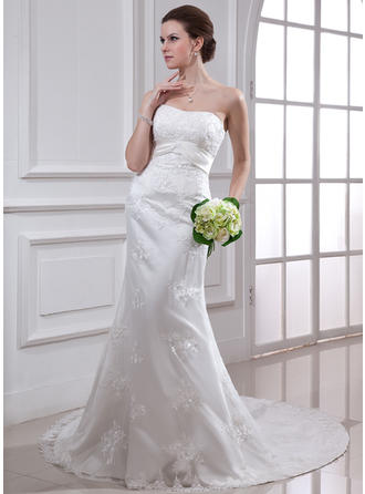 Trumpet/Mermaid Chapel Train Wedding Dress With Beading Appliques Lace