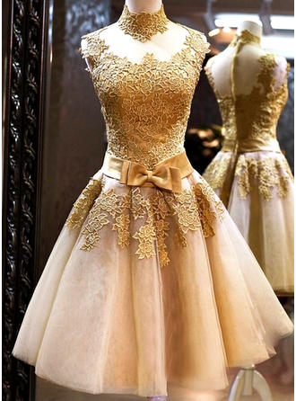 A-Line/Princess Tulle Prom Dresses Bow(s) High Neck Sleeveless Knee-Length