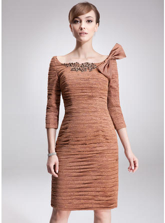 Sheath/Column Lace 3/4 Sleeves Off-the-Shoulder Knee-Length Zipper Up Mother of the Bride Dresses