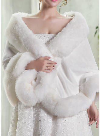 Wrap Fashion Artificial Wool White Wraps (013146877)