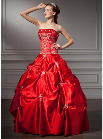 Ball-Gown Strapless Floor-Length Satin Prom Dress With Beading Sequins