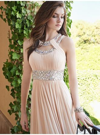 Ruffle Beading Scoop Neck With Chiffon Evening Dresses