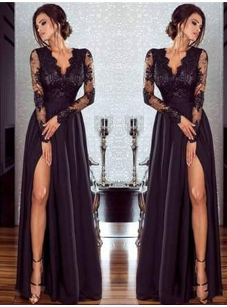 Fashion Chiffon Evening Dresses A-Line/Princess Floor-Length V-neck Long Sleeves