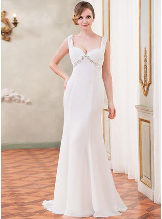 Magnificent Watteau Train Trumpet/Mermaid Wedding Dresses Sweetheart Chiffon Sleeveless