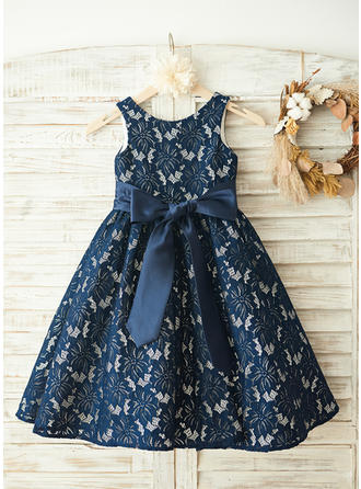 Glamorous Scoop Neck A-Line/Princess Flower Girl Dresses Knee-length Lace Sleeveless