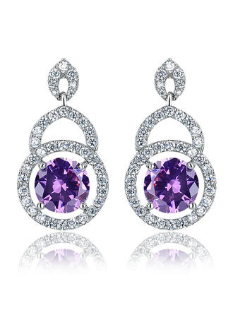 Earrings Zircon/Platinum Plated Pierced Ladies' Elegant Wedding & Party Jewelry