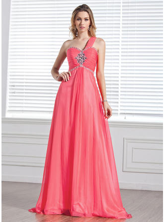 Chiffon Sleeveless A-Line/Princess Prom Dresses One-Shoulder Ruffle Beading Sweep Train