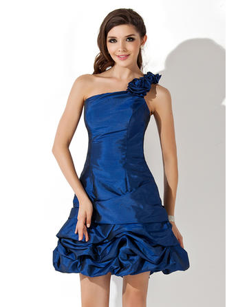 A-Line/Princess Short/Mini Homecoming Dresses One-Shoulder Taffeta Sleeveless