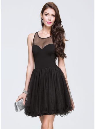 Elegant Tulle Prom Dresses A-Line/Princess Short/Mini Scoop Neck Sleeveless