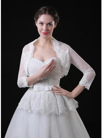 Wrap Wedding Lace Tulle 3/4-Length Sleeve With Appliques Lace Wraps (013115733)