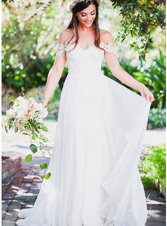 A-Line/Princess Off-The-Shoulder Sweep Train Wedding Dress With Appliques Lace