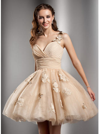 A-Line/Princess One-Shoulder Tulle Sleeveless Short/Mini Ruffle Beading Flower(s) Homecoming Dresses