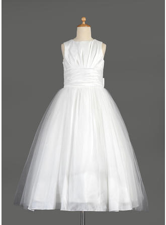 Princess Tea-length Empire Flower Girl Dresses Scoop Neck Taffeta/Tulle Sleeveless (010014642)