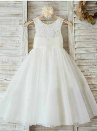 A-Line/Princess Scoop Neck Ankle-length With Pleated Chiffon/Lace Flower Girl Dress