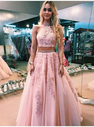 Elegant Tulle Prom Dresses A-Line/Princess Floor-Length High Neck Sleeveless
