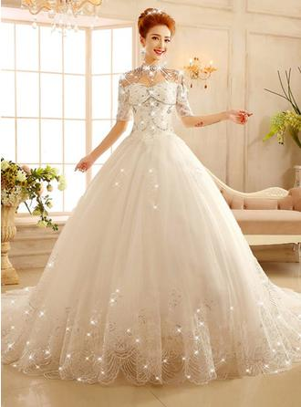 Ball-Gown Scoop Floor-Length Chapel Train Wedding Dress With Lace Beading Appliques Lace Sequins