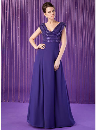 A-Line/Princess Chiffon Sequined Sleeveless Cowl Neck Floor-Length Zipper Up at Side Mother of the Bride Dresses