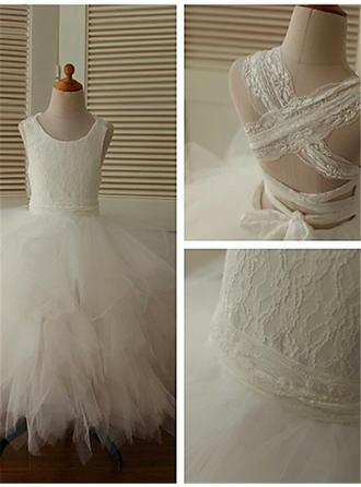 Sweetheart Ankle-length Ball Gown Flower Girl Dresses Scoop Neck Tulle Sleeveless