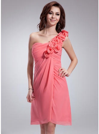 Empire One-Shoulder Knee-Length Chiffon Homecoming Dresses With Ruffle Flower(s)