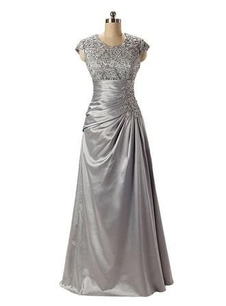 Empire Scoop Neck Floor-Length Charmeuse Lace Mother of the Bride Dress With Ruffle Beading (008146344)