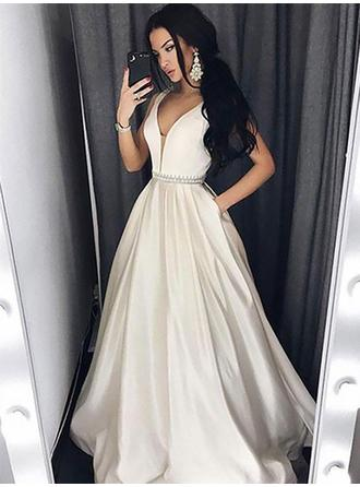 Sleeveless A-Line/Princess Prom Dresses V-neck Beading Floor-Length